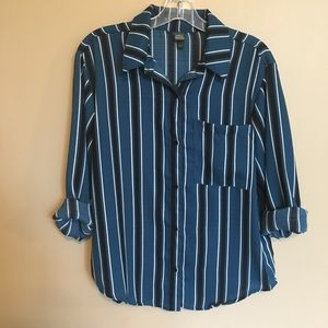 A New Day (Target) Teal Striped Button Up